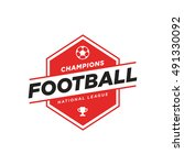 soccer logo in black and red ...   Shutterstock .eps vector #491330092