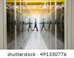 technician walking in hallway... | Shutterstock . vector #491330776