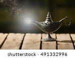 beautiful antique metal lamp in ... | Shutterstock . vector #491332996