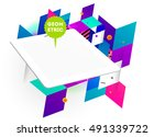 tablet pc icon with geometric... | Shutterstock .eps vector #491339722