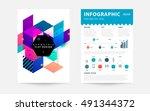 geometric background template... | Shutterstock .eps vector #491344372