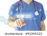 weight loss concept on... | Shutterstock . vector #491345122