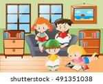 Four Kids Reading In Living...