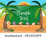 frame design with beach theme... | Shutterstock .eps vector #491351095