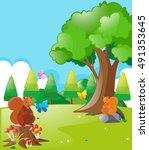squirrels and butterflies in... | Shutterstock .eps vector #491353645