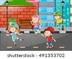 four kids rollerskate on the... | Shutterstock .eps vector #491353702