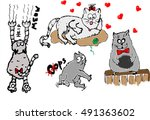 graphical color cats in... | Shutterstock . vector #491363602