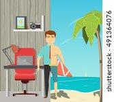 flat cartoon image of man... | Shutterstock .eps vector #491364076