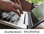 hands multitasking man working... | Shutterstock . vector #491396932