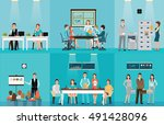 business people working in... | Shutterstock .eps vector #491428096