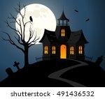 vector illustration of a spooky ... | Shutterstock .eps vector #491436532
