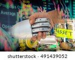 robo adviser concept. double... | Shutterstock . vector #491439052