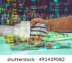 robo adviser concept. double... | Shutterstock . vector #491439082