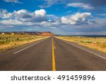 long empty highway road arizona ... | Shutterstock . vector #491459896