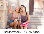 teenager students sitting on...   Shutterstock . vector #491477356
