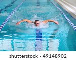 man swims using the butterfly... | Shutterstock . vector #49148902