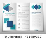 blue fold set technology annual ... | Shutterstock .eps vector #491489332