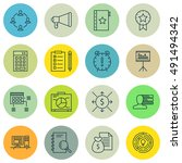 set of project management icons ... | Shutterstock .eps vector #491494342