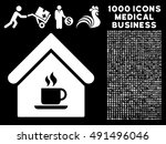 cafe house icon with 1000...