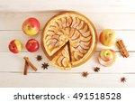 apple pie tart  ingredients  ... | Shutterstock . vector #491518528