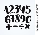 numbers set in hand drawn style.... | Shutterstock .eps vector #491534722