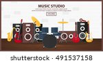poster with musical instruments.... | Shutterstock .eps vector #491537158