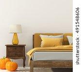 3d illustration of bedroom with ... | Shutterstock . vector #491548606