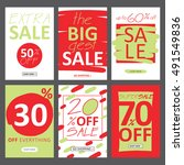 social media sale banners and... | Shutterstock .eps vector #491549836