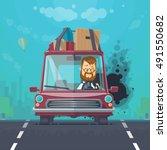 trendy flat design vehicle... | Shutterstock .eps vector #491550682