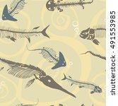 pattern ancient skeletons of... | Shutterstock .eps vector #491553985