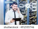 Small photo of IT administrator. Internet service provider, male businessman. Programmer.