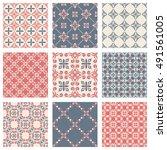 set of nine vector seamless... | Shutterstock .eps vector #491561005