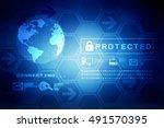 3d rendering globe internet... | Shutterstock . vector #491570395