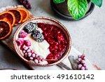 semolina porridge with... | Shutterstock . vector #491610142
