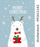 merry christmas  hand drawn... | Shutterstock .eps vector #491611162