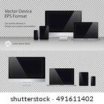 set of realistic computer... | Shutterstock .eps vector #491611402