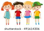 four kids with happy face... | Shutterstock .eps vector #491614306