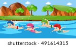scene with four kids swimming... | Shutterstock .eps vector #491614315