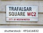 street sign trafalgar square... | Shutterstock . vector #491616832