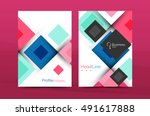 set of front and back a4 size... | Shutterstock .eps vector #491617888
