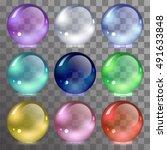 vector set of glass balls | Shutterstock .eps vector #491633848