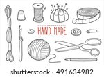 icons the tools of the weaver... | Shutterstock .eps vector #491634982