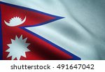 realistic flag of nepal waving... | Shutterstock . vector #491647042