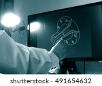 designer working on a cad... | Shutterstock . vector #491654632