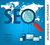 infographics background seo... | Shutterstock .eps vector #491654668