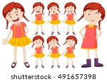 girl with different facial... | Shutterstock .eps vector #491657398