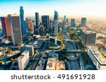 Stock photo aerial view of a downtown los angeles at sunset 491691928