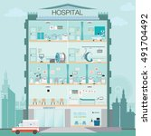 hospital building with doctor... | Shutterstock .eps vector #491704492