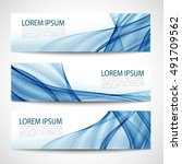 abstract header blue wave white ... | Shutterstock .eps vector #491709562