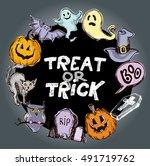 halloween hand drawn characters ... | Shutterstock .eps vector #491719762